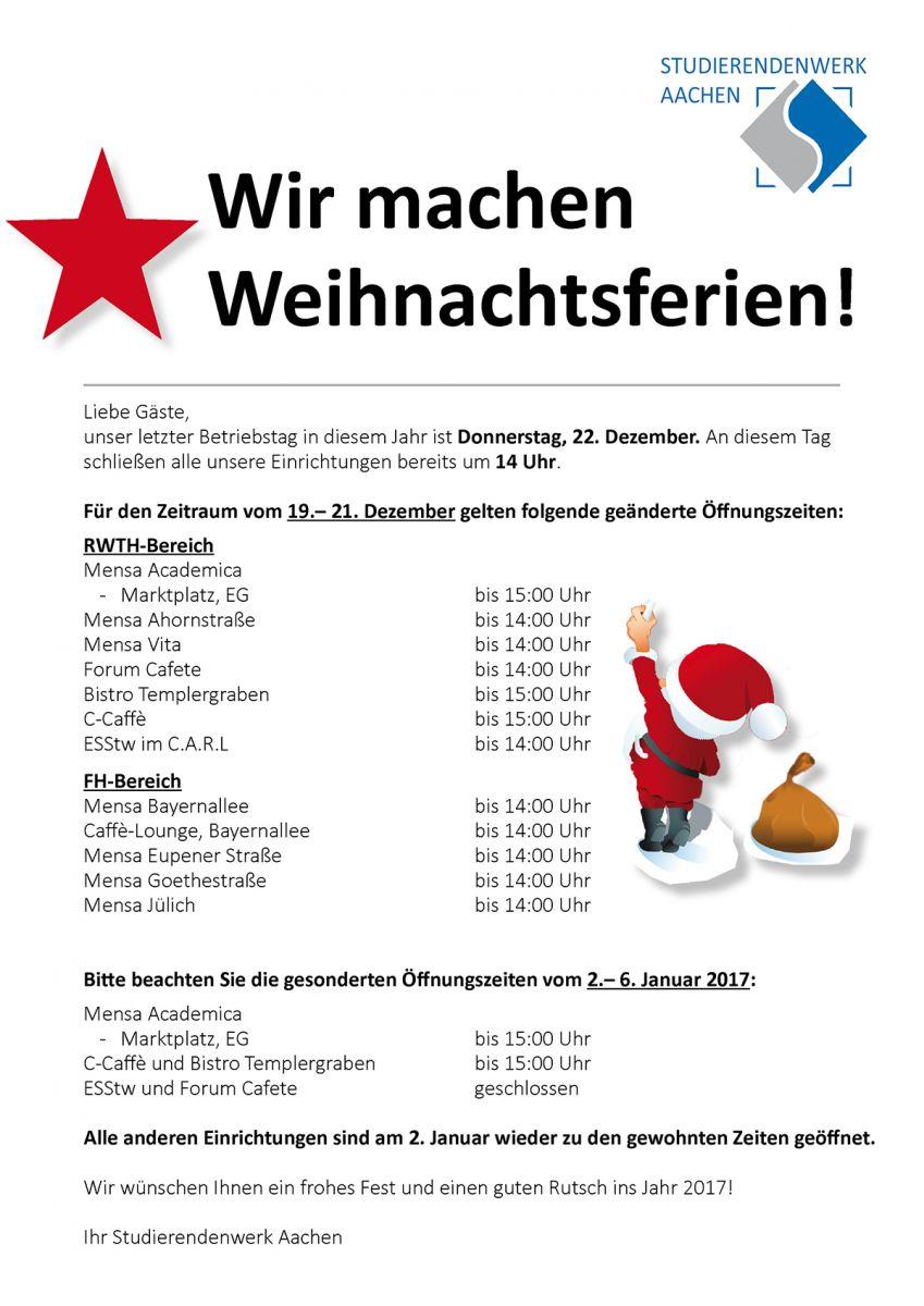Um Weihnachten.öffnungszeiten Um Weihnachten Und Neujahr Studierendenwerk Aachen